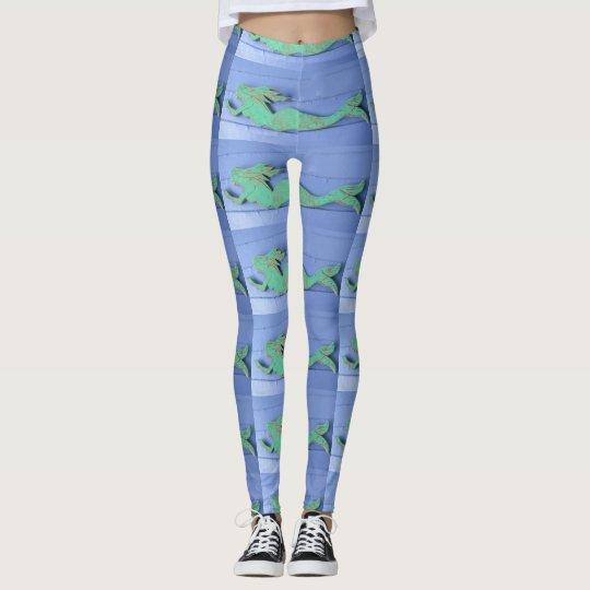 verdigris green mermaid blue leggings