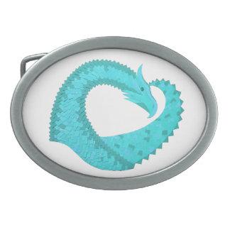 Verdigris heart dragon on white belt buckle
