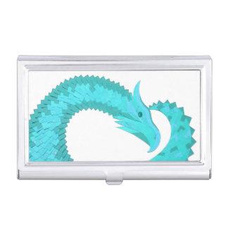 Verdigris heart dragon on white business card holder