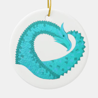 Verdigris heart dragon on white ceramic ornament