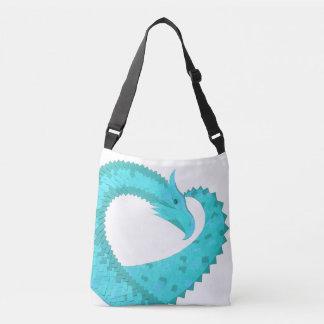 Verdigris heart dragon on white crossbody bag