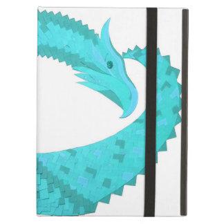 Verdigris heart dragon on white iPad air case