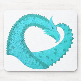 Verdigris heart dragon on white mouse pad