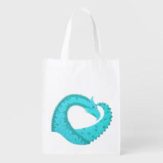 Verdigris heart dragon on white reusable grocery bag