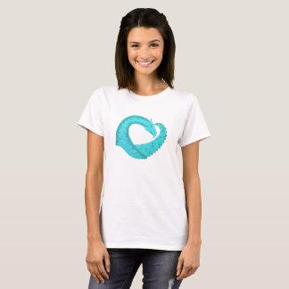 Verdigris heart dragon on white T-Shirt