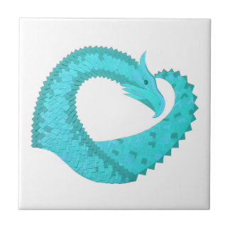 Verdigris heart dragon on white tile