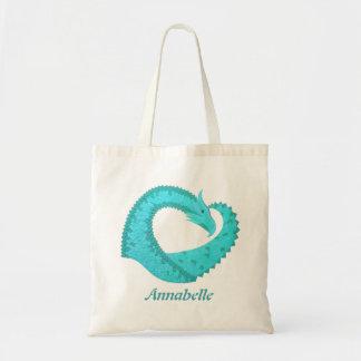 Verdigris heart dragon on white tote bag