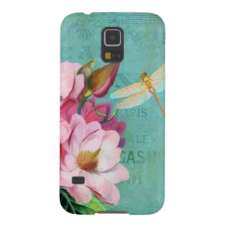 Verdigris, pink Magnolias dragonfly Samsung Cases For Galaxy S5