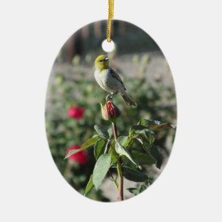 Verdin on Rosebud Ceramic Oval Ornament