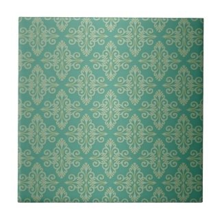 Veridian Green Damask Pattern Tile
