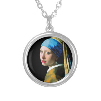 Vermeer - Girl with a Pearl Earring Silver Plated Necklace