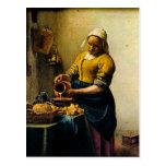 Vermeer's Maidservant Pouring Milk (circa 1660) Postcards