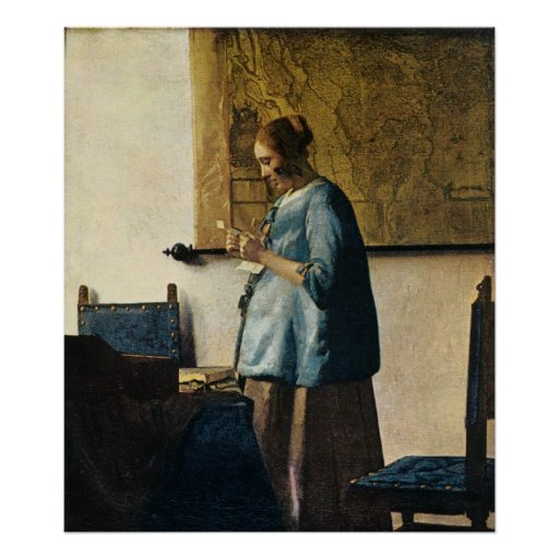 woman in blue reading a letter vermeer s in blue reading a letter ca 1665 poster 25664