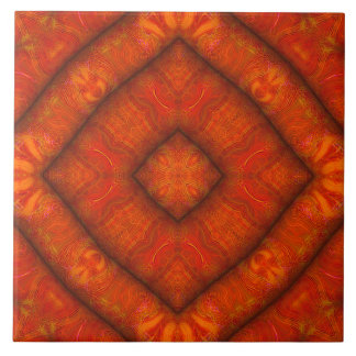"Vermilion ""Inflatable-Silk"" Diamond-Mandala Tile"