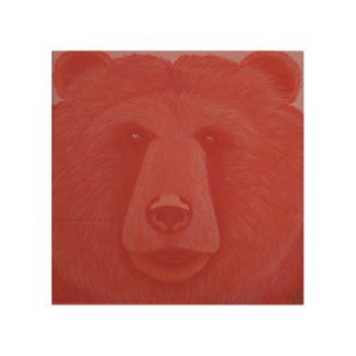Vermillion Bear Wood Wall Panel Wood Canvases