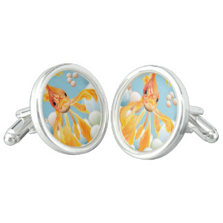 Vermillion Goldfish Blowing Bubbles Cufflinks
