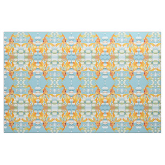 Vermillion Goldfish Blowing Bubbles Fabric