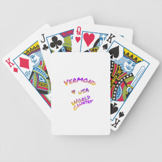 Vermond usa world country, colorful text art bicycle playing cards