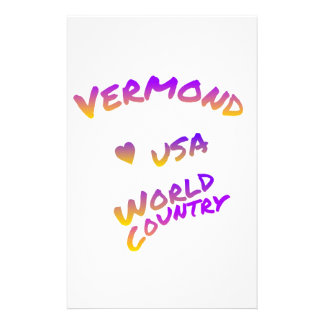Vermond usa world country, colorful text art stationery design