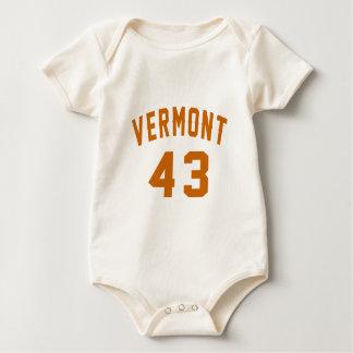 Vermont 43 Birthday Designs Baby Bodysuit