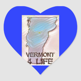 """Vermont 4 Life"" State Map Pride Design Heart Sticker"