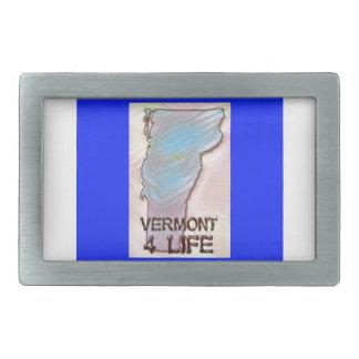 """Vermont 4 Life"" State Map Pride Design Rectangular Belt Buckle"