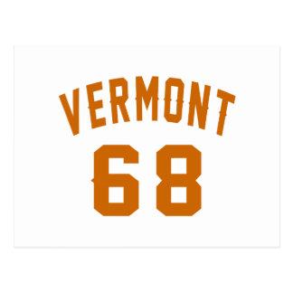 Vermont 68 Birthday Designs Postcard