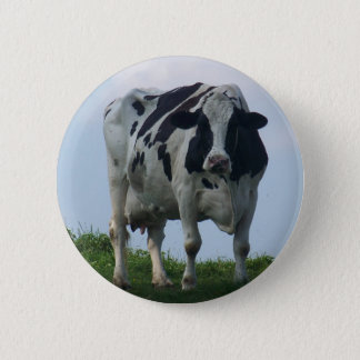 Vermont  Black and White Dairy Cow 2 Inch Round Button
