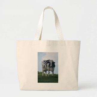Vermont  Black and White Dairy Cow Large Tote Bag