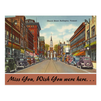 Vermont, Church Street, Burlington Postcard