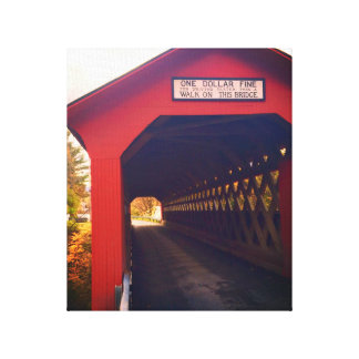 vermont covered bridge in fall canvas print