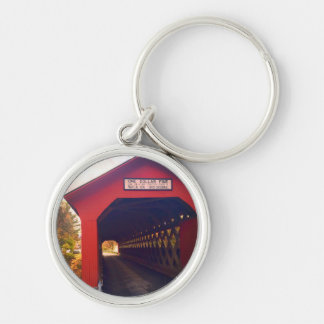 vermont covered bridge in fall Silver-Colored round keychain