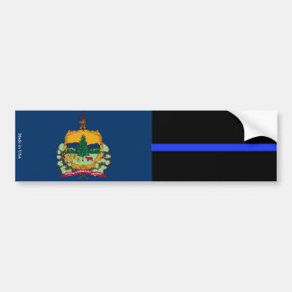 Vermont Flag & Thin Blue Line Bumper Sticker