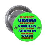 Vermont for Obama Shumlin Sanders Welch 2 Inch Round Button