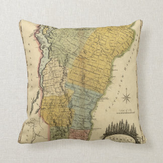 Vermont, From actual Survey - Vintage 1814 Map Throw Pillow
