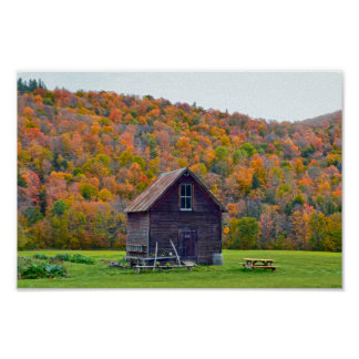 Vermont Garden Shed in Autumn Poster