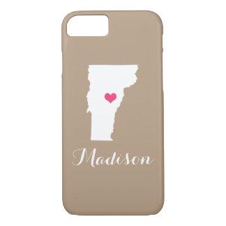 Vermont Heart Mocha Brown Custom Monogram iPhone 8/7 Case