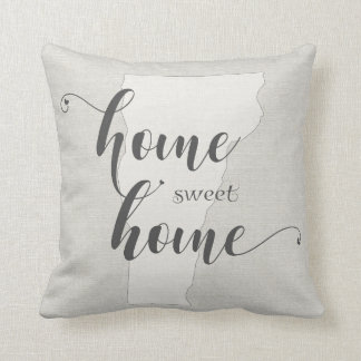 Vermont - Home Sweet Home burlap-look Throw Pillow