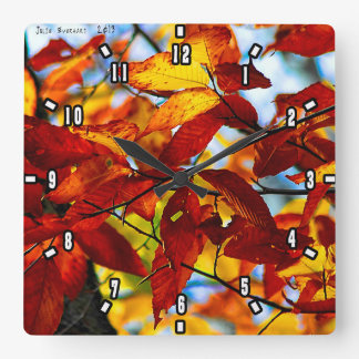 Vermont  Leaves by Julie Everhart Square Wall Clock