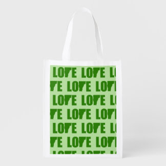 Vermont Love Tiled Print Reusable Grocery Bag
