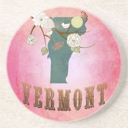 Vermont Map With Lovely Birds Coaster