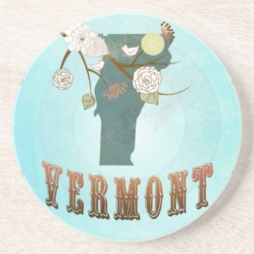Vermont Map With Lovely Birds Drink Coasters