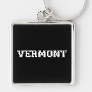Vermont Silver-Colored Square Keychain
