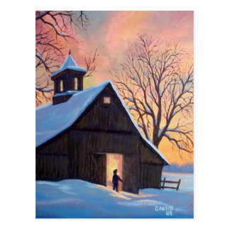 Vermont Snowy Barn Postcard