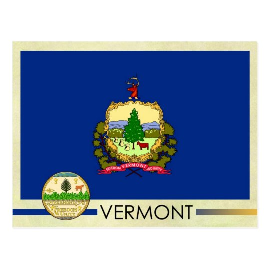 Vermont State Flag and Seal Postcard