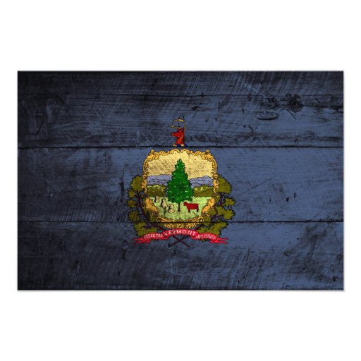 Vermont State Flag on Old Wood Grain Photo Art