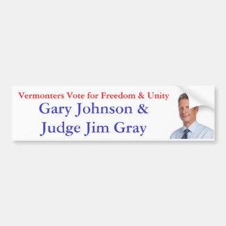 Vermonters Vote for Freedom & Unity Bumper Sticker