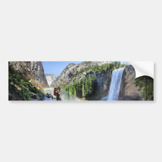 Vernal Fall Hiker and Rainbow - Yosemite Bumper Sticker