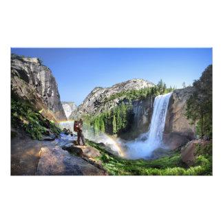 Vernal Fall Hiker and Rainbow - Yosemite Photo Print