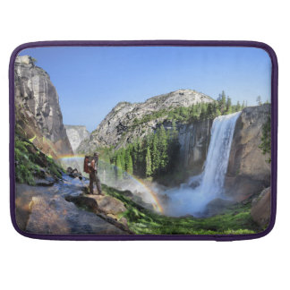 Vernal Fall Hiker and Rainbow - Yosemite Sleeve For MacBook Pro